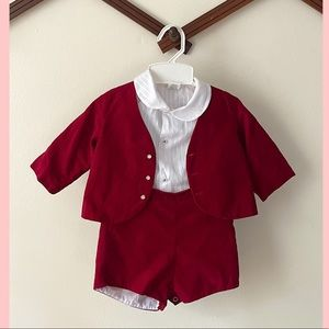 Vintage Infant Red Velvet 3-piece Suit Set 18 mos